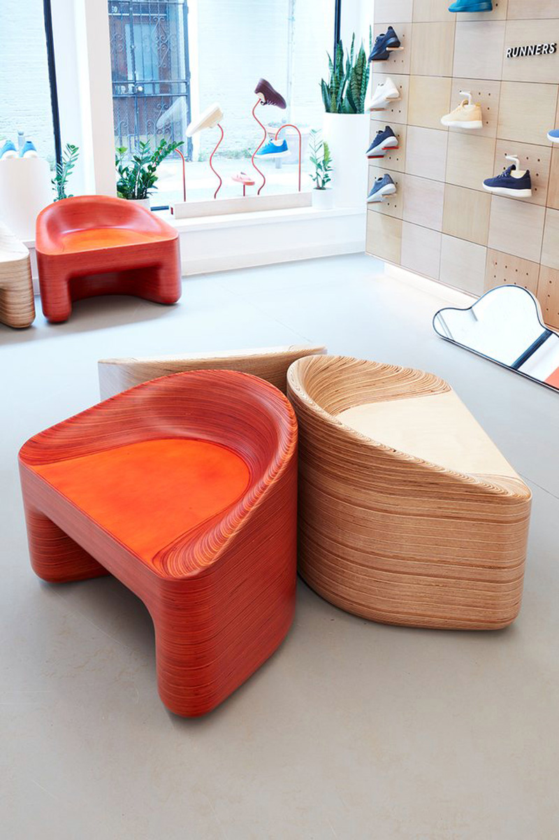 Allbirds CNC Stacklaminated Plywood Chair made by Timbur LLC